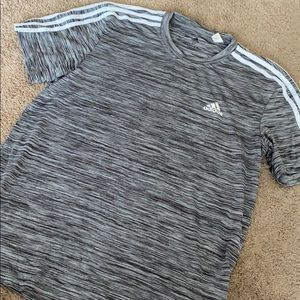 Gray and White Striped Adidas Shirt